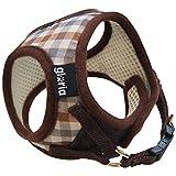 Gloria gepolstertes Textil Hunde-Brustgeschirr mit Klettverschluss und Clip (Small) (Braun Karo)