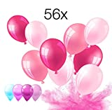 56x Set Luftballons Ballon Luft und Helium in Farben rosa, pink, lila fuchsia, weiß weiss für Dekoration Deko an Hochzeit, Geburtstag, Party, Partydekoration Hochzeitsdeko, Mädchen uvm.