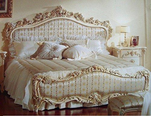 Barock Bett Doppel Bett 180x200 Schlafzimmer Antik Stil Vp7712Q Kopfteil Stoff Nr. 285-01...