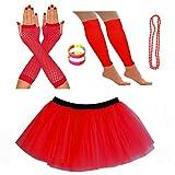 REDSTAR FANCY DRESS Neon Tutu Skirt Leg Warmers Fishnet Gloves Necklace Beads and Neon Wrist Beads (8-12 UK, Red)