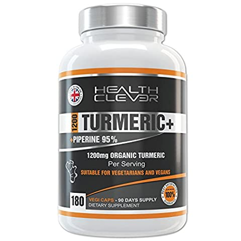 Turmeric Curcumin 180 Organic Veggie Capsules with Piperine Exract 95% Black Pepper, AKA BioPerine, Potent 1200mg 2 Capsule Serving, 3 Months' Supply. Max Strength Vegan/Vegetarian Extract Powder Supplements for Men and Women on Amazon. 90 DAY MONEY BACK