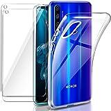 """Leathlux Coque Honor 20/ Huawei Nova 5T Transparente + 2 × Verre trempé Protection écran, Souple Silicone étui Protecteur Bumper Housse Clair TPU Gel Case Cover Coque pour Huawei Honor 20 6.26"""""""