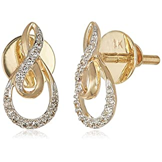 Senco Gold 14KT Yellow Gold and Diamond Stud Earrings for Women (DT-D000123775)
