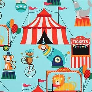 Tissu Michael Miller bleu clair, chapiteau, animaux, cirque