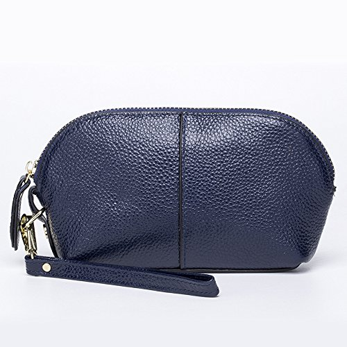 Mefly La Sig.Ra Borsa A Mano Moda Solido Cellulare Frizione Sacchetto Claret Blue