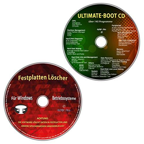 Ultimate Boot-CD / Ersthilfe & Notfall-CD + Festplatten Löscher für Windows Betriebssysteme 10-8-7-Vista-XP (32 & 64 Bit) (2 CDs Spar-Set) (Os Windows 7 Cd)