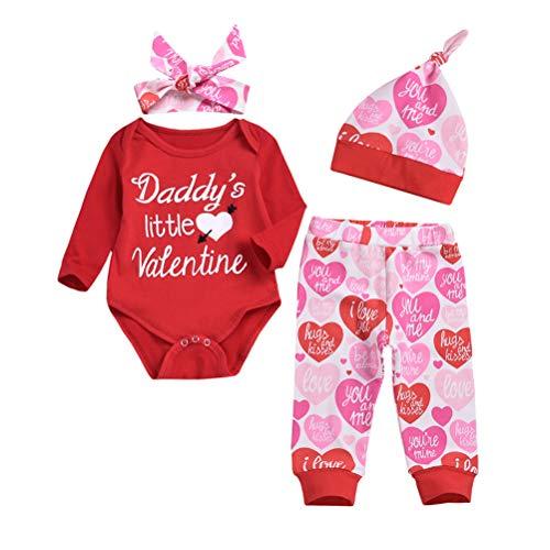 EisEyen Valentinstag Babykleidung Neugeboren Kostüm Strampler Kinderkostüme Niedlich Spielanzug Drucken Overall Jumpsuits + Hosen +Hut +Stirnband Kleider Outfits Set