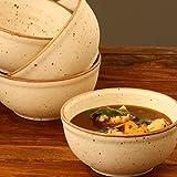 Sunshine Crafts Prime Quality Ceramic/Stoneware Ribbed, Matt Finish Off White Dinning/Dinner Katori/Bowls (Set Of 4)