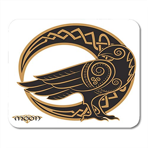 ing Mouse Pad Odin Raven in Celtic Style on The of Moon White Mandala Pagan Halloween Bird 11.8