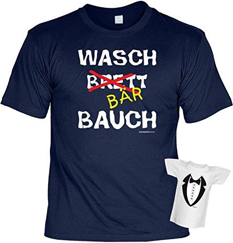 Fun T-Shirt Waschbärbauch Waschbrett-Bauch bedruckt Geschenk-Set mit Mini Flaschenshirt Navyblau