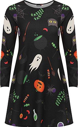 Übergröße Halloween Druck Schick Kostüm Lang Hülle Damen Abgefackelt Schaukel Kleid - Schwarz - 42 (Billig Frauen Plus Size Halloween Kostüme)