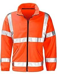 Raiken Hi Vis Full Zip Fleece Visibility Jacket High Viz Work Wear Yellow Orange