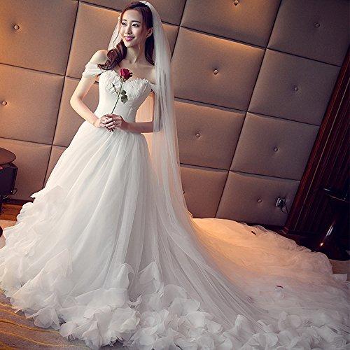 MO.CL Hochzeitskleid Lace Federn V-Kragen Bare-Shoulder A-Linie Lange Trailing Brautkleid Enthalten...