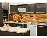 Küchenrückwand Folie selbstklebend HOLZ KNOTEN 260 x 60 cm   Klebefolie - Dekofolie - Spritzchutz für Küche   PREMIUM QUALITÄT