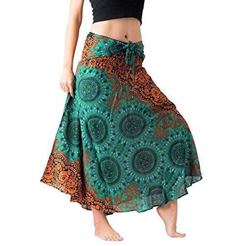Yanhoo Frauen Lange Hippie Bohemian Gypsy Boho Blumen Elastischen Floral Hlater Rock Zwei Verschleiß Taille Halb Rock&Hlater Rock Komisch Individualität Design (M, ()