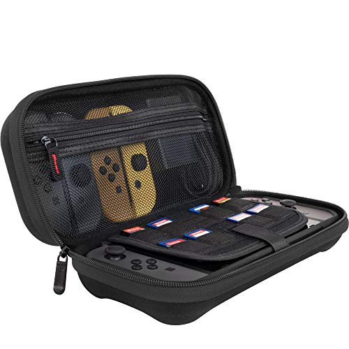 ButterFox Deluxe Nintendo Switch Travel Bag Case with Storage Room for Official AC Adapter and 9 Game Card Slots - Black