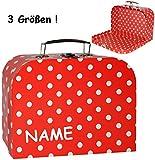 Unbekannt 1 Stück _ Koffer / Kinderkoffer - GROß -  Punkte - rot & weiß  - incl. Name - 30 cm - ideal für Spielzeug und als Geldgeschenk - Mädchen & Jungen - Pappkoff..
