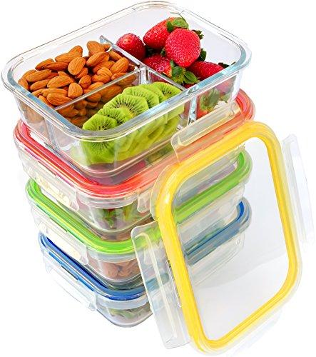 Glasbehälter mit Deckel Set (4er Pack)  | 3-Kammer-Behälter aus Glas mit Soßenbehältern, Etiketten | perfekt als Lunchboxen, Vorratsbehälter für Ofen, Mikrowelle, Gefrierschrank