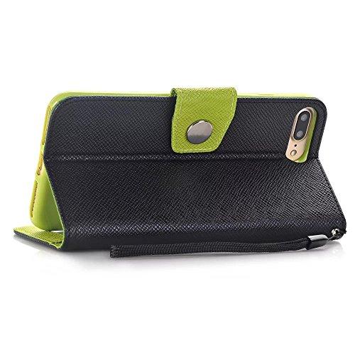 iPhone Case Cover Mischfarben-Art-Wallet-Standplatz PU-lederne Kasten-Abdeckung mit Abzuglinie-Karte Bargeldschlitze für Apple IPhone 7 Plus ( Color : White , Size : IPhone 7 Plus ) Black