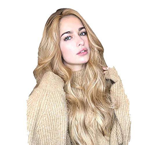 Perruque Synthétique Longs Cheveux Frisés Dégradé Naturel des Couleurs D'or Femmes Pleines Perruques Blonde Longue Naturelle Ondulée 2019