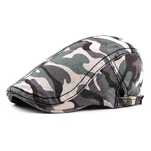 Zeitungsjunge Hut Baskenmütze Mütze Camouflage Hat Outdoor Reise Ente Zunge Baskenmütze Hut Baumwolle Zeitungsjunge Retro Hut (Farbe : Gray Blue, Größe : 56-58CM)
