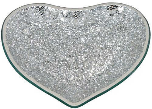 Heart Shaped Silver Mosaic Candle Plate/Dish
