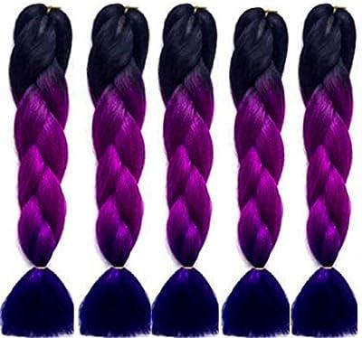 """24"""" 5 x Ombre Black Purple Blue 3Tone Dip Dye Kanekalon Braiding Hair Extensions by Grace Plus Hair"""