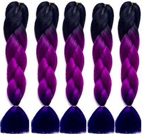 24 5 X Ombre Black Purple Blue 3tone Dip Dye Kanekalon Braiding
