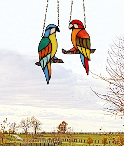 makenier Tiffany-Stil gebeizt Glas rot und blau Papageien Fenster Aufhängen Sun Catcher