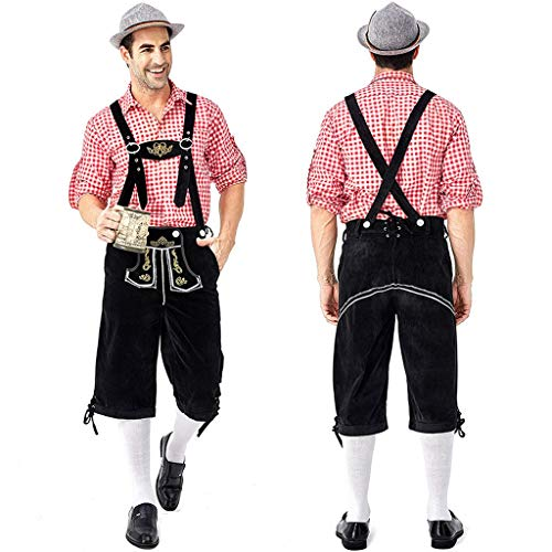 Chejarity Herren Trachtenhose Kniebundhose 2 TLG:Kariert Trachtenbluse,Trägerhose Bestickt Bayerische Bar Set Halloween Traditionelle Kleidung Oktoberfest Bierfest Kostüm Lederhose (XXL, rot) (Lederhosen Kostüm Muster)