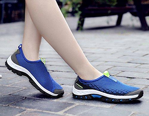 Unisex - Erwachsene Bequeme Wanderschuhe Atmungsaktiv Mesh Einfach Slipper Leichtgewicht Anti-Rutsche Outdoorschuhe Blau