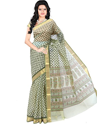 Roopkala Silks & Sarees Cotton Saree With Blouse Piece(MA-1010_Green_Free Size)