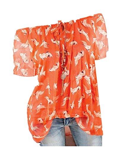 Yvelands Mode Frauen Kurzarm T-Shirt Chiffon Off-Schulter Printed Bluse Top