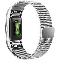 Simpeak Fitbit Charge 2 Cinturino Cinturino in Acciaio Inossidabile Band Loop Milanese con Chiusura Magnetica,Grande,6.7-9 Pollice,Argento