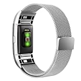 Simpeak Compatible Fitbit Charge 2 Correa (6.7-9.0 Pulgadas), Loop Correa de Acero Inoxidable Reemplazo Wristband Pulseras Bandas Fitbit Charge 2 Fitness con Cerradura Imán Único,Plata