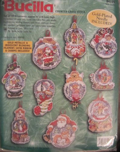 Snow Domes, Counted Cross Stitch Kit, Set of 10 Ornaments by Bucilla -