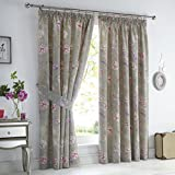 Dreams 'n' Drapes Jade' Bettwäsche-Set, Orientalisches Blumenmuster, Motiv: Vogel und Muster, wendbar, Stone, 66x72 (168 x 183 cm) Eyelet Curtains Inc. Tiebacks