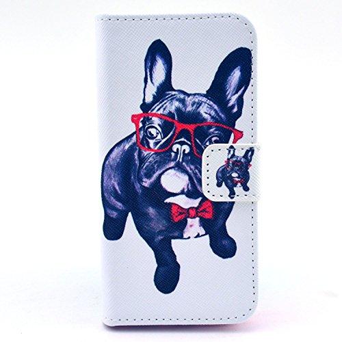 MOONCASE iPhone 5 Case Motif Conception Coque en Cuir Portefeuille Housse de Protection Étui à rabat Case pour iPhone 5 5S P06