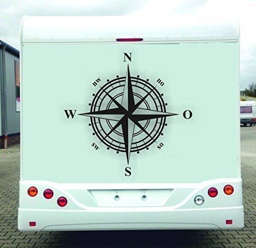 Windrose Aufkleber für Wohnmobil, Wohnwagen, N O S W, 1 Meter Durchmesser, Norden Osten Süden Westen (Schwarz) + GRATIS-Zugabe!!!