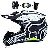 SK-LBB Lot de 4 casques de motocross, motocross, motocross, personnalité créative Locomotive pour VTT, gants, lunettes de masques