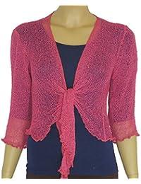 Ladies Plain de punto recortada Tie Up Bolero Shrug Top–gran gama de colores para todos los tamaños