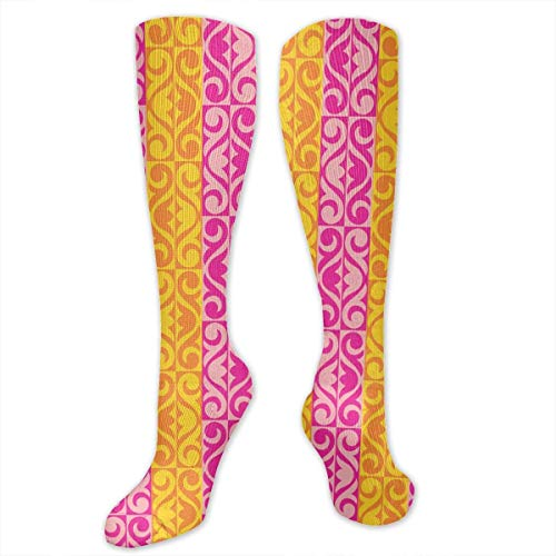 Kotdeqay Pink Yellow Flower Polyester Cotton Over Knee Leg High Socken Coolest Unisex Thigh Stockings Cosplay Boot Long Tube Socken for Sports Gym Yoga Hiking Cycling Running Soccer