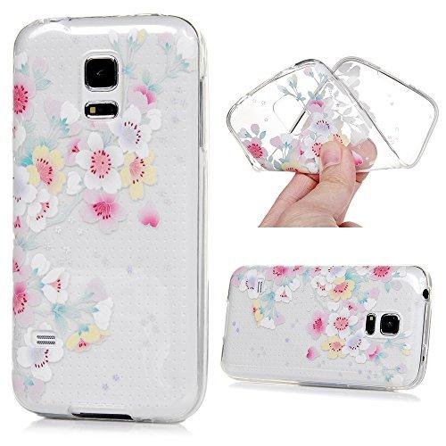 MAXFE.CO TPU Silikon Hülle für Samsung Galaxy S5 mini Handyhülle Schale Etui Protective Case Cover Rück mit Ultra slim Skin Volltonfarbe Design Skin Farbe Bunte Blumen
