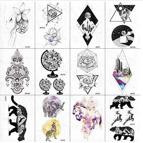 ruofengpuzi Schwarz Temporäre Tätowierung Aufkleber Frauen Arme Global Plants Tattoos Gefälschte Indian Tribal Tattoos wasserdichte Dreiecke Diamond City