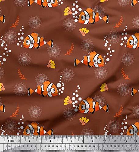 Soimoi Braun Baumwolljersey Stoff floral, Shell & Fisch Ozean Dekor Stoff gedruckt 1 Meter 58 Zoll breit -
