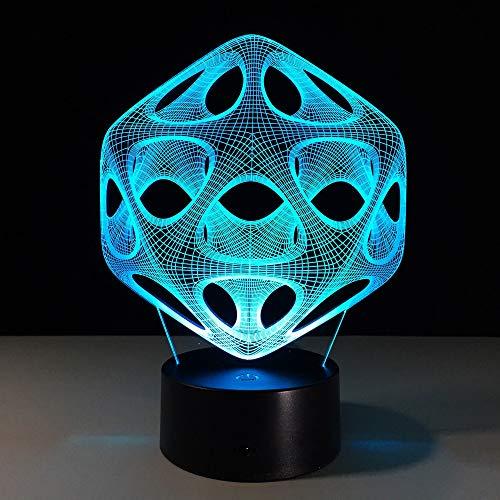 Abstrakte Spirale Loch Schreibtisch Schreibtischlampe Dekoration 3D Illusion Licht Acryl Panel Stereo Effekt Nachtlicht 7 Farbwechsel