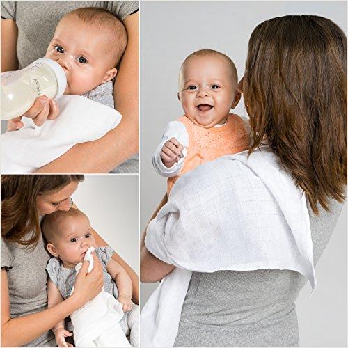 Mullwindeln / Spucktücher - 10er Pack, 80x80 cm, weiß | PREMIUM QUALITÄT - schadstoffgeprüft, doppelt gewebt, ÖKO-TEX zertifiziert, verstärkte Umrandung, kochfest | Stoffwindeln & Mulltücher fürs Baby 2