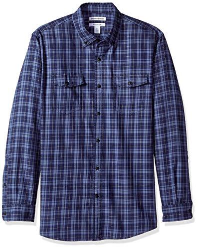 Amazon Essentials Men S Regular Fit Long Sleeve Two Pocket Twill Shirt Navy Plaid Small