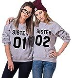 Best Friends Pullover für Zwei Sister Sweatshirt für 2 Mädchen Pullover Sister 01 Damen BFF Geschenke (Grau, 01-S+02-S)