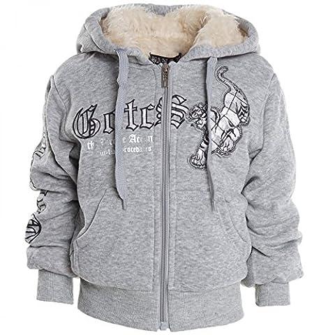 Kinder Hoodie Pullover Jacke Kapuzenpullover Sweatshirt Kapuzen Sweatjacke H2569, Farbe:Grau;Größe:104